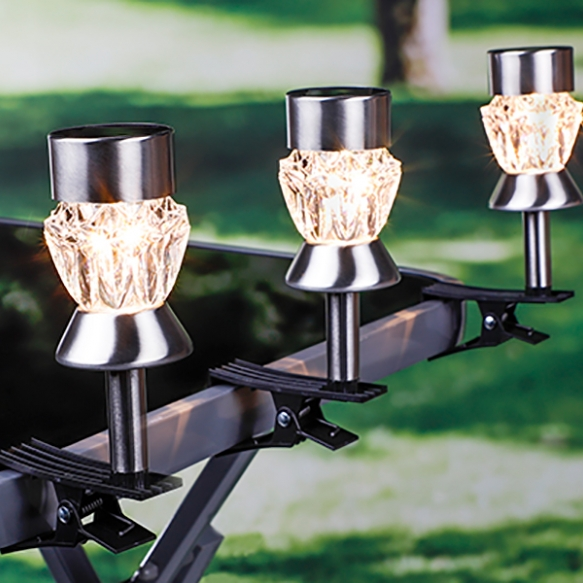 Set van 3 solar led lampen met klem