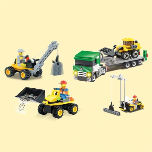4-in-1 Blocki bouwvoertuigen bouwset